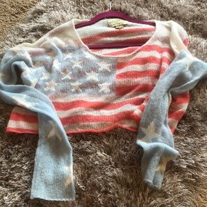 Wildfox crop sweater American flag small
